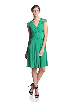 Ivy & Blu Women's Ruched Dress with Lace Back (Spring Green)