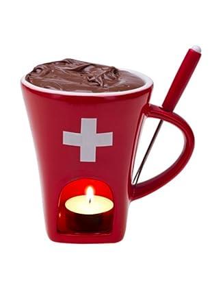 Nouvel Schokoladenfondue-Set CH-Kreuz 3-teilig rot