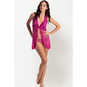 Magenta Colored Flyaway Babydoll Style Mesh With Sexy Matching Thong By PrettySecrets
