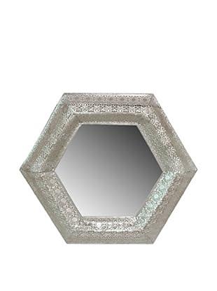Three Hands Silver Pierced Hexagon Wall Mirror