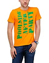 Yepme Men's Orange Graphic Cotton T-shirt -YPMTEES0229_S