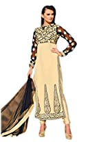 Admyrin Women's Cream Georgette Embroidered Salwar Suit