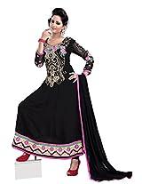 7 Colors Lifestyle Women Georgette Salwar Suit Dress Material (Aaldr1012Nzkt _Black _Free Size)