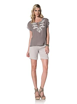 Central Park West Women's Cabo Embroidered Silk Top (Taupe)