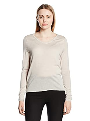 Capital B Wollpullover Capital B Fine Knit V-Neck Light Grey Melange L