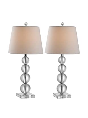 Safavieh Millie Set of 2 Crystal Ball Table Lamps, Silver/Clear