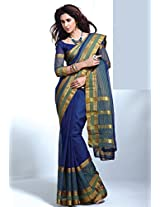 Blue Colour Cotton Material Saree : Amolika Collection - YF-16895