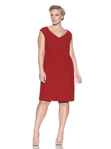 Z from Zenobia Women's Plus Wool Blend Shift Dress (Crimson)