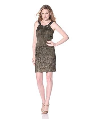 Sue Wong Women's Halter Cocktail Dress (Olive)
