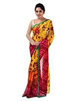 Yomeeto Faux Georgette Fabric Yellow Coloured Printed Saree