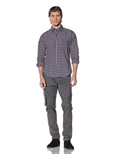 Shades of Grey by Micah Cohen Men's Long Sleeve Button-Up Shirt (Wellesley Plaid)