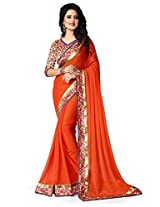 Shree laxmi creations women,s Orange colour chiffon saree