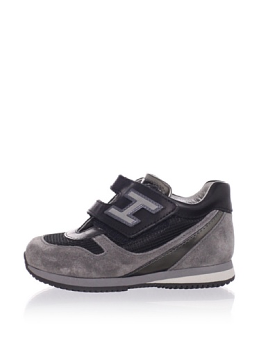 Hogan Kid's Logo Strap Leather Sneaker (Grey/Black)
