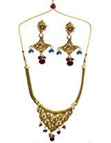 Exotic India Multi-Color Necklace With Earrings Set - Copper Alloy with Cut Glass