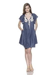 Vivienne Tam Women's Macramé Babydoll Dress (Denim)