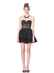 Betsey Johnson Women's Rosette Cocktail Dress (Black)