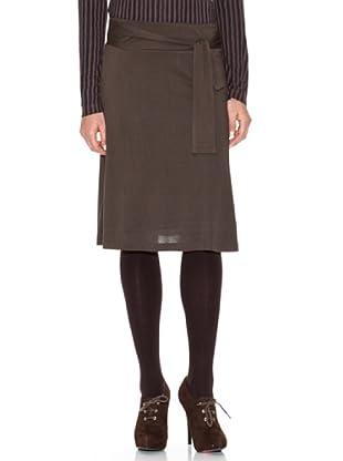 SIYU Falda Básico Con Cinturón Nudo (Marrón)