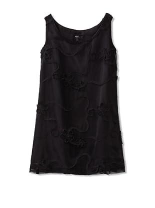ABS Kids Girl's Dress with Mesh Ribbon Rosettes (Black)
