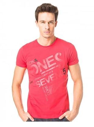 JACK & JONES Camiseta Letter S/S (Rojo)