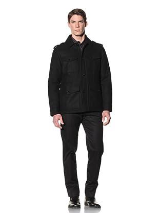 Perry Ellis Men's Melton Four-Pocket Car Coat (Black)