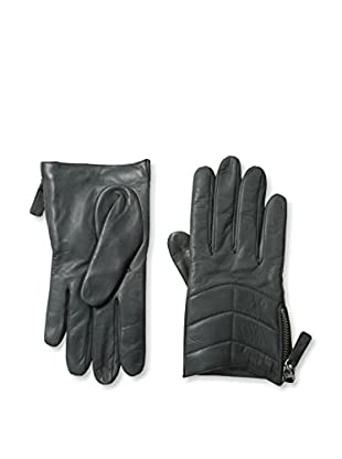 Portolano Women's Zippered Leather Gloves (Iron Gray)