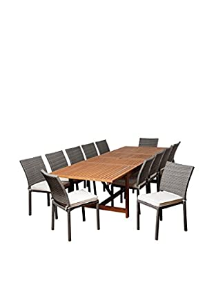 Amazonia Nixon 13-Piece Eucalyptus Wicker Extendable Rectangular Dining Set with Off-White Cushions, Brown/Grey