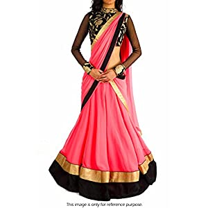 Bollywood Replica Model Georgette Lehenga In Pink and Black Colour NC693