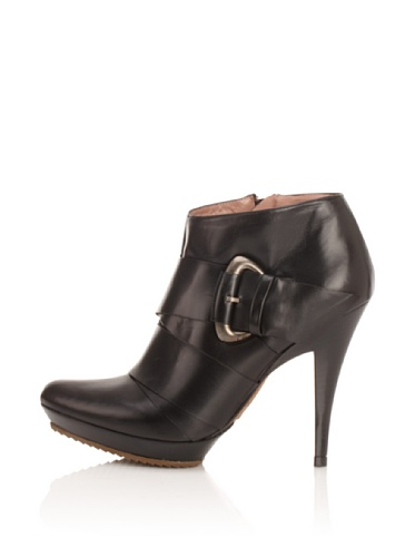 Pura Lopez Women's Buckled Platform Bootie (Black)