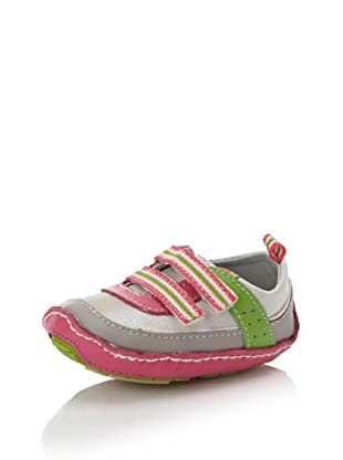 Baby Deer Kid's Double Hook-and-Loop Moc Trainer (Baby/Toddler) (Pink/Grey/Green)