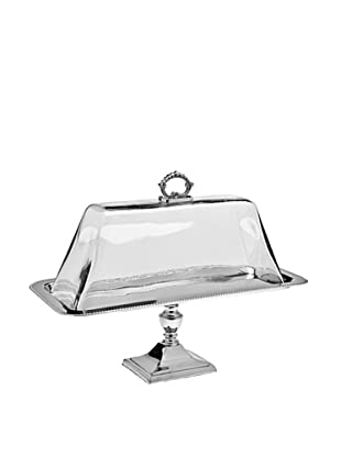 Godinger Pedestal Tray Glass Dome, Nickel
