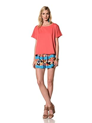 Thakoon Addition Women's Short Sleeve Sweatshirt (Coral)