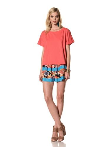 Thakoon Addition Women's Short Sleeve Sweatshirt (Coral)