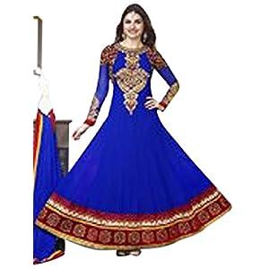 Prachi Desai Long Floor Length Blue & Red Georgette Top With Santoon Dupatta Resham & Heavy Zari Embroidery Work Unstitched Anarkali Salwar Suit