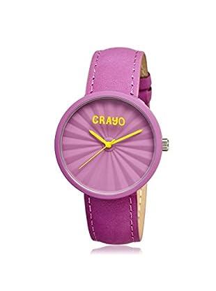 Crayo Women's CR1508 Pleats Fuchsia Leather Watch