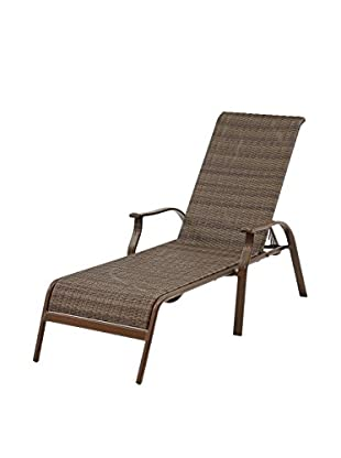 Panama Jack Island Cove Woven Stackable Sling Chaise Lounge, Espresso