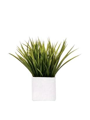 Lux-Art Silks Grass in White Ceramic Vase, Green