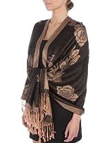 FUPashRose06AG Lightweight Two Tone Rose Floral Design Pashmina Fringe Scarf / Stole / Wrap - Black / Beige