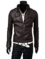 New Hot`Men'S Slim Top Designed Sexy Pu Leather Short Jacket Coat 3Color/4 Size