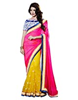 DS Fashion's Pink And Orangish Yellow Net And Chiffon Saree