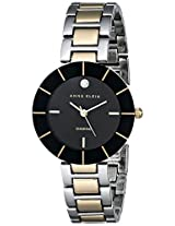 Anne Klein Women's AK/1807BKTT Diamond-Accented Black Dial Two-Tone Bracelet Watch