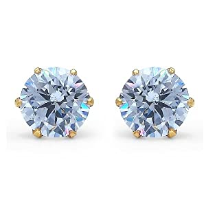 0.83CTW White Cubic Zirconia Rhodium Plated Gold Plated Brass Round Studs