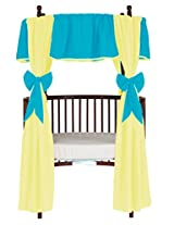 Baby Doll Bedding Solid Reversible Round Crib Curtains, Aqua/Yellow