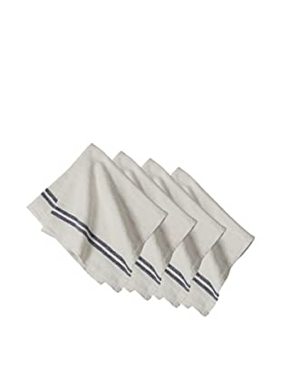 Couleur Nature Set of 4 Vintage Linen Stripe Napkins, Navy