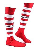 UHLSPORTS KNEE HIGH FULL SIZE FOOTBALL STOCKING RED / WHITE 01