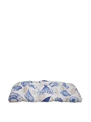 Pillow Perfect Outdoor Sea Life Marine Wicker Loveseat Cushion, Blue/Tan