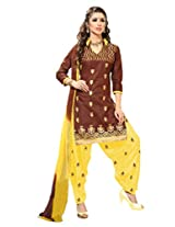 Suchi Fashion Brown & Yellow Cotton Embroidered Patiyala Suit Dress Material