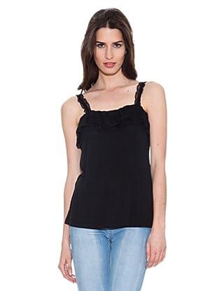 Santa Bárbara Camiseta Con Encaje (Negro)