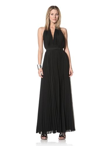 Halston Heritage Women's Pleated V-Neck Gown with Self Belt (Black)