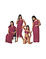 Indiatrendzs Sexy Hot Nighty Nighties 6pc Set -Freesize