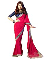Roop Kashish Georgette Satin Chiffon Saree With Border Saree(10817_Pink)